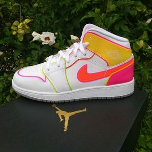 Nike Air Jordan 1 Mid Edge Glow Neon Sneakers